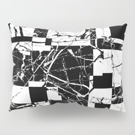 Manipulated Marble - Black and white, abstract, geometric, marble style art Pillow Sham