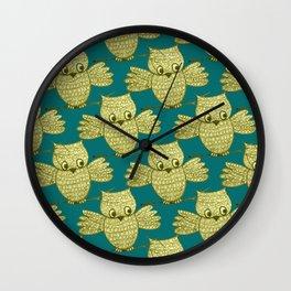Little Yellow Owl Pattern Wall Clock