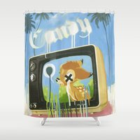 candy Shower Curtains featuring CANDY by Chris Arran