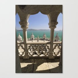 The Torre de Belem tower, view through arches to the river Tejo, Lisbon, Portugal Canvas Print