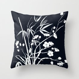 bamboo and plum flower white on black Throw Pillow