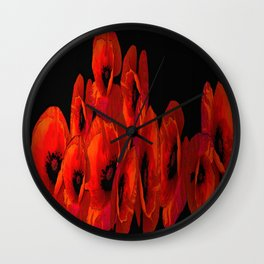 ELEVEN RED POPPIES Wall Clock