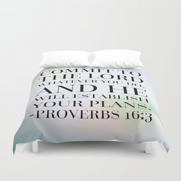 Proverbs 16:3 Bible Quote Duvet Cover