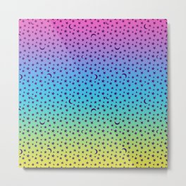 Colorful Star & Moon Pattern Metal Print