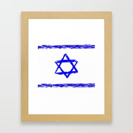 flag of israel 9- יִשְׂרָאֵל ,israeli,Herzl,Jerusalem,Hebrew,Judaism,jew,David,Salomon. Framed Art Print