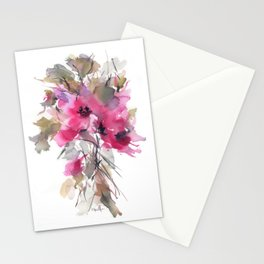 Red Water Blooms Stationery Cards