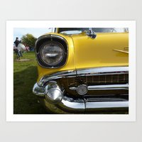 Yellow 57 Chevrolet Art Print