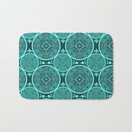 Turquoise abstract seamless lace pattern texture background Bath Mat