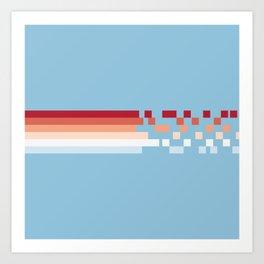 Classic Abstract Racing 70s Retro Stripes Pixel Drops - Aika Art Print