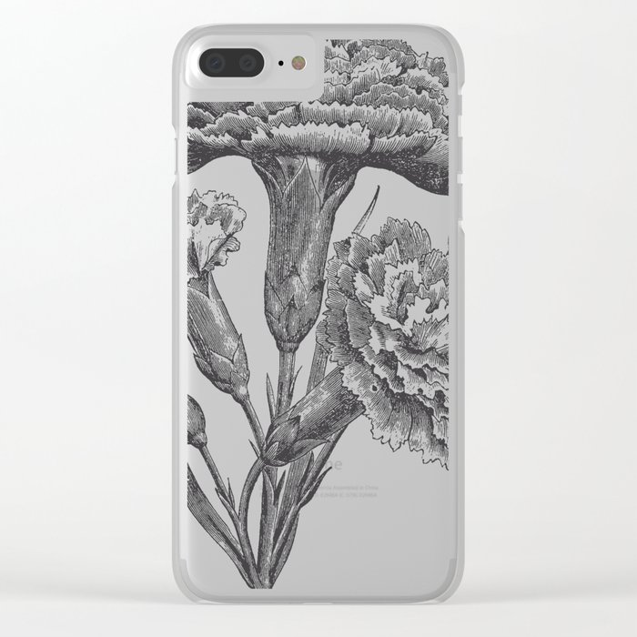 Vintage Carnations Clear iPhone Case