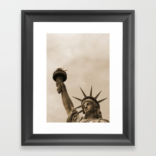 Lady Liberty sepia Framed Art Print