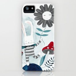 bunny with flower and mushrooms watercolor iPhone Case