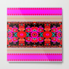 Folk Art Flowers - pink, orange, black, red, aqua Metal Print
