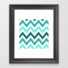 TRI-TONE TEAL CHEVRON Framed Art Print
