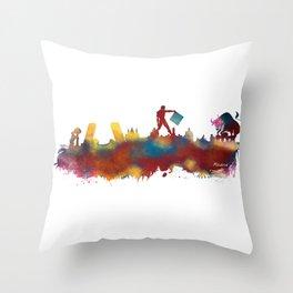 Madrid skyline Throw Pillow