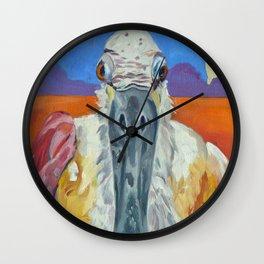 Pink Roseate Spoonbill Wall Clock