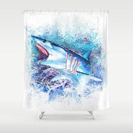 Mako Shark Breaching Shower Curtain