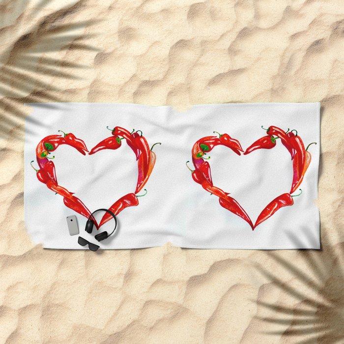 Peppers heart Beach Towel