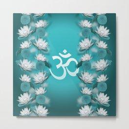 Om Symbol Gentle Lotus Stream on teal Metal Print