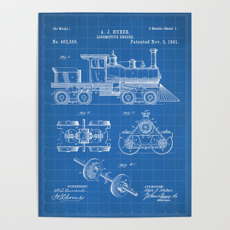 Train Locomotive Patent - Steam Train Art - Blueprint Poster by patentpress