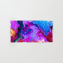 Fluid Abstract Art - Purple Magenta Blue Gold Flux - Oil painting Hand & Bath Towel