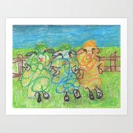 Three Ewes Chillin Art Print