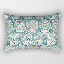 CARPE DIEM SKULLS in Teal Fade Rectangular Pillow