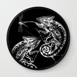 Catch - Chameleon and Dragonfly Illustration Hand Drawing from Inktober 2019 Wall Clock