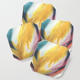 Ambition: a colorful abstract piece in bold yellow, blue, pink, red, and gold Coaster
