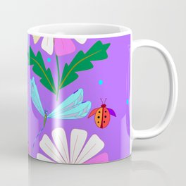 A Spring Rain on Daisies with Lady Bugs and Dragonflies Coffee Mug