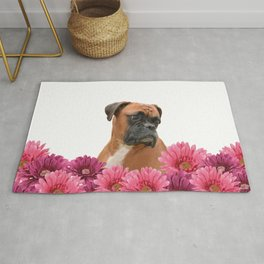 Boxer with pink Gerbera Flowers Rug