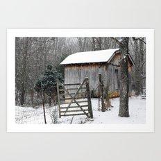 Backyard Snow Art Print