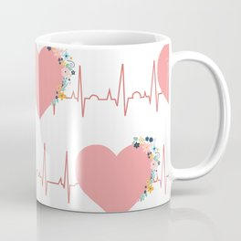 Flower ECG Hearts Coffee Mug
