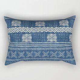 Mud Cloth Geometric Stripe Navy Rectangular Pillow