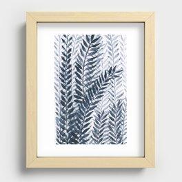 Blue Leaves Watercolor Recessed Framed Print