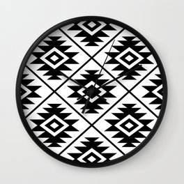 Aztec Symbol Pattern Black on White Wall Clock