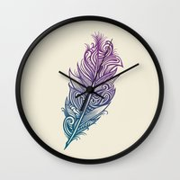 supreme Wall Clocks featuring Supreme Plumage by Rachel Caldwell