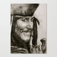 jack sparrow Canvas Prints featuring Jack Sparrow by Kelly N. Gin