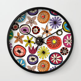summer flowers multi white Wall Clock