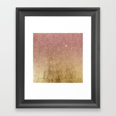 Pink Rose Gold Glitter and Gold Foil Mesh Framed Art Print