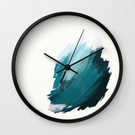 Deep Dark Aqua and White Abstract Painting Home Decor Wall Art by Jules Tillman. Wall Clock