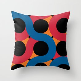 Other Black Round Spheres being hug by red, orange and blue snakes Throw Pillow