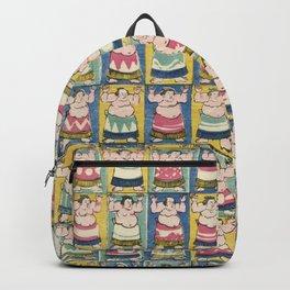 Sumo Wrestlers Japanese Vintage Print Backpack