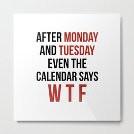 After Monday and Tuesday Even The Calendar Says WTF Metal Print