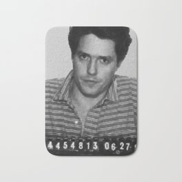 Painting of Hugh Grant Mug Shot 1995 Black And White Mugshot Bath Mat