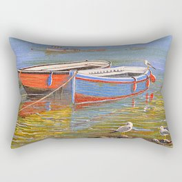 Blue And Orange Boats At The Harbor Rectangular Pillow