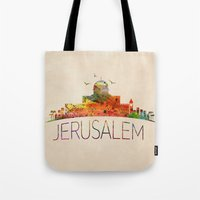 israel Tote Bags featuring israel by mark ashkenazi