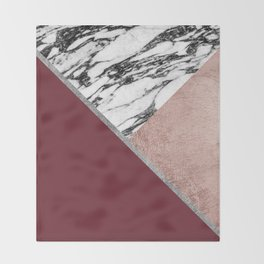 Marble Rose Gold Red Wine Triangle Geometric Throw Blanket