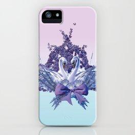 romantic swan couple iPhone Case