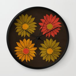 RETRO FLOWER  Wall Clock